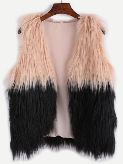 Contrast Faux Fur Vest