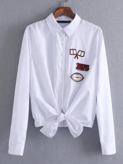 White Patches Knotted Hem Shirt