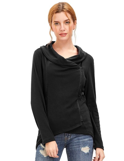 Black Cowl Neck Asymmetric Zip Coat