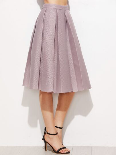 Pink High Waist Pleated Flare Skirt