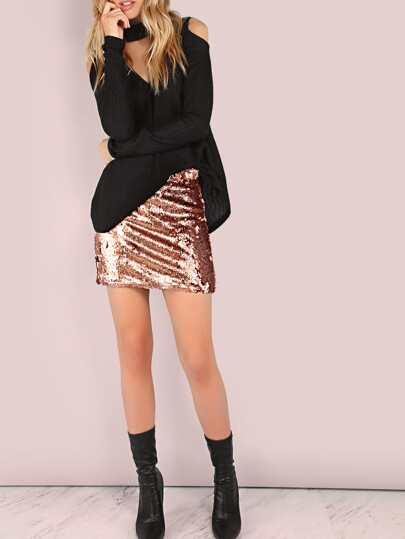 All Over Sequin Mini Skirt ROSE GOLD