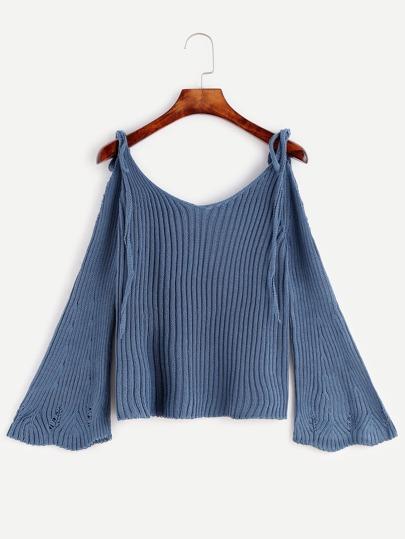 Blue Cold Shoulder Bell Sleeve Sweater