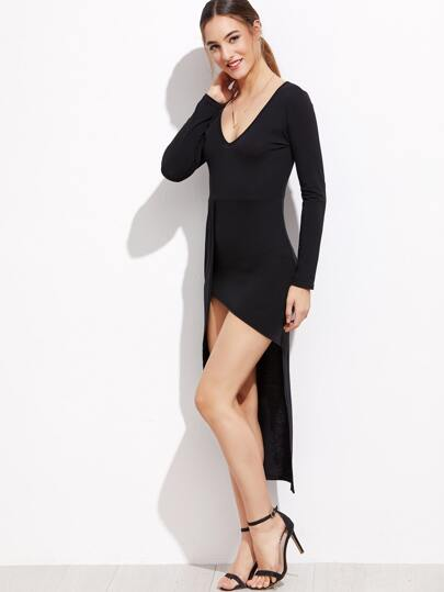 Black Deep V Neck High Low Dress
