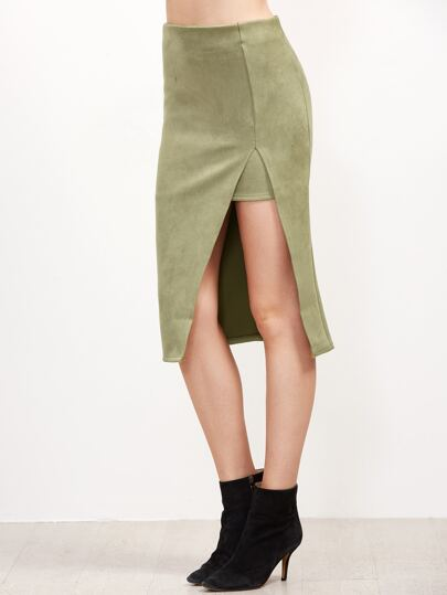 Pale Green Suede High Slit Skirt