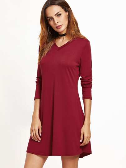 Burgundy V Neck Tee Dress