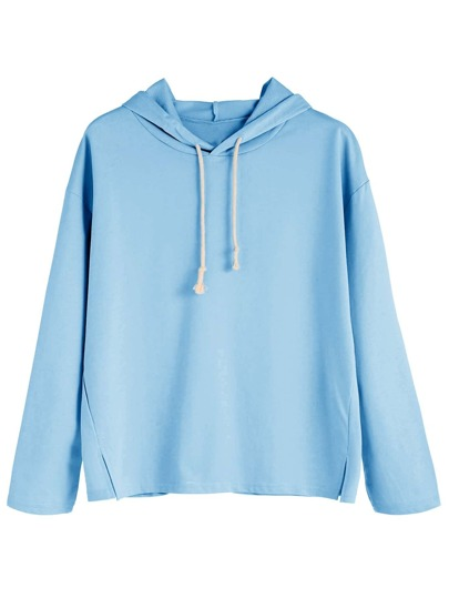 Blue Side Slit Hooded Sweatshirt