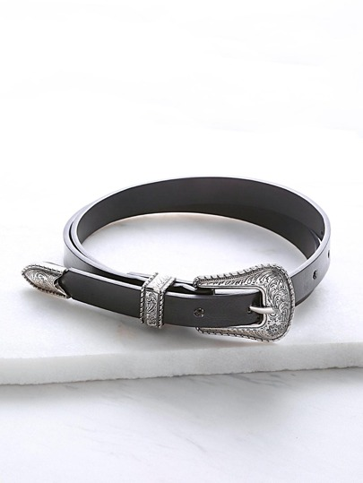Black Faux Leather Carved Buckle Belt