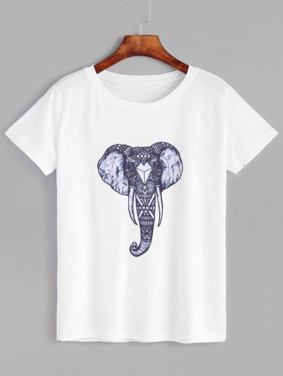 White Elephant Print Short Sleeve T-shirt