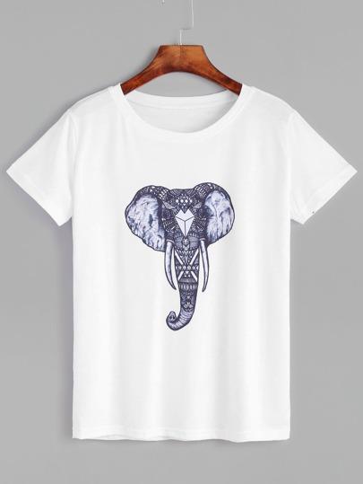 Elephant Print T-shirt