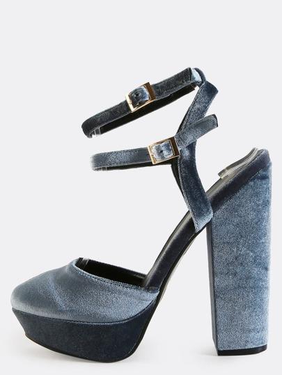 Platform Round Toe Velvet Heels STEEL BLUE