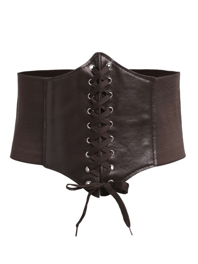 Coffee Lace Up Faux Leather Wide Waist Belt
