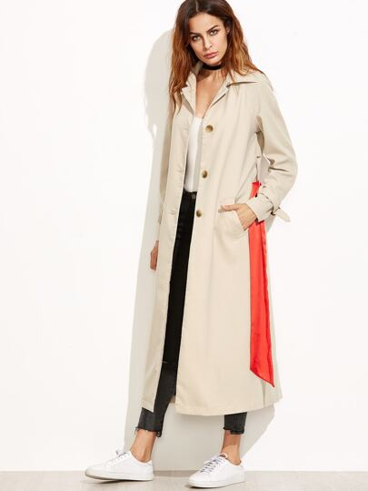 Apricot Back Flap Trench Coat With Sash Belt