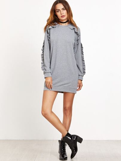Grey Ruffle Detail Sweatshirt Dress