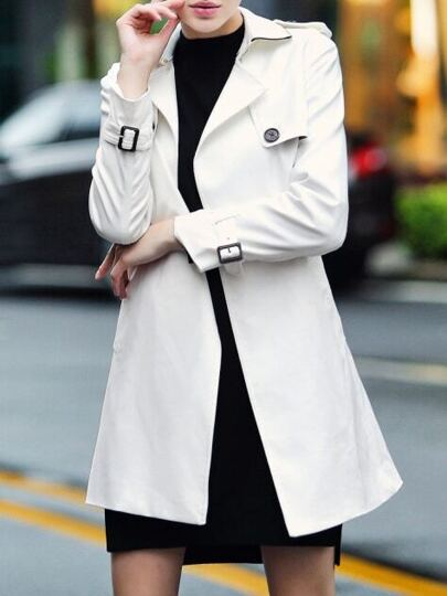 White Lapel Belted Pockets Coat