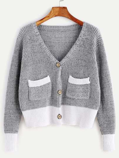 Color Block Drop Shoulder Pockets Sweater Coat