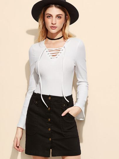 White Lace Up V Neck Ribbed Bodysuit