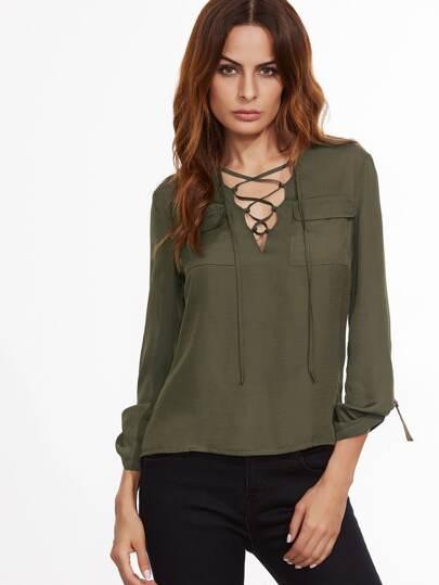 Bluse V-Ausschnitt Taschen Schnüren-oliv grün