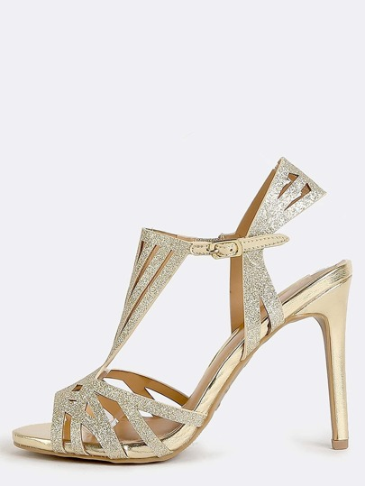 Open Toe Glitter Cut Out Heels GOLD