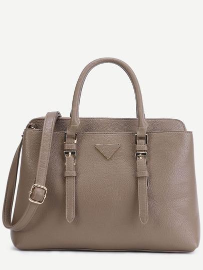 Khaki Pebbled PU Double Buckle Handbag With Strap