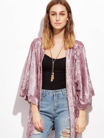 Pink 3/4 Sleeve Crushed Velvet Kimono