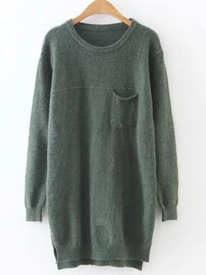 Army Green Slit Side High Low Jersey Sweater
