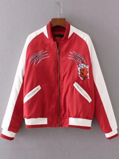 Red Color Block Tiger Embroidery Jacket
