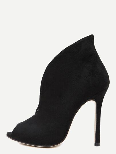 Zapatos de tacón de antelina con puntera abierta - negro