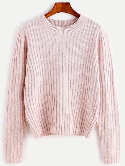 Pink Ribbed Lace Up Back Sweater