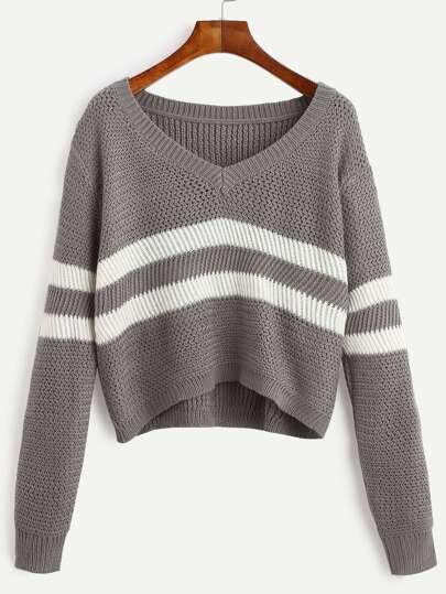 Grey Striped V Neck Crop Sweater