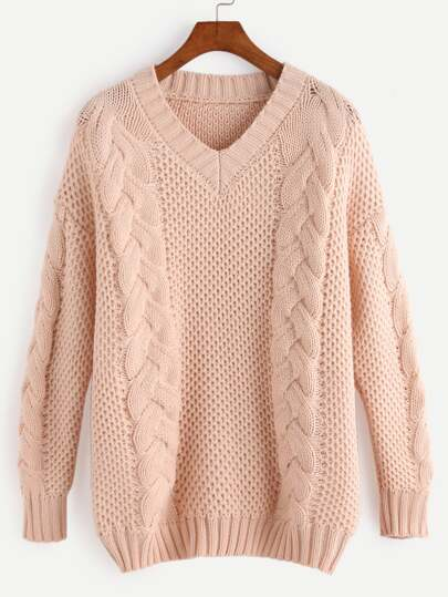 Apricot V Neck Cable Knit Sweater