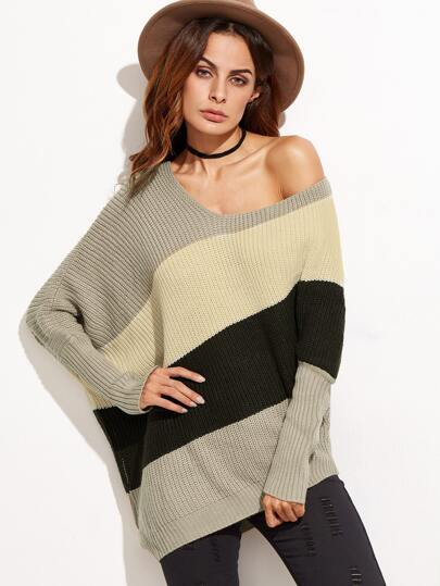 Color Block Asymmetric Dolman Sleeve Sweater