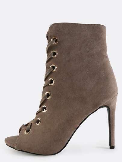 Lace Up Suede Eyelet Ankle Boots TAUPE