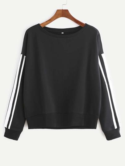 Black Drop Shoulder Striped Sleeve Sweatshirt