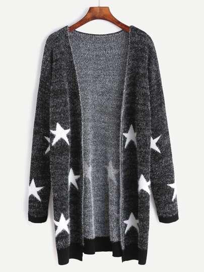 Black Star Pattern Open Front Long Sweater Coat