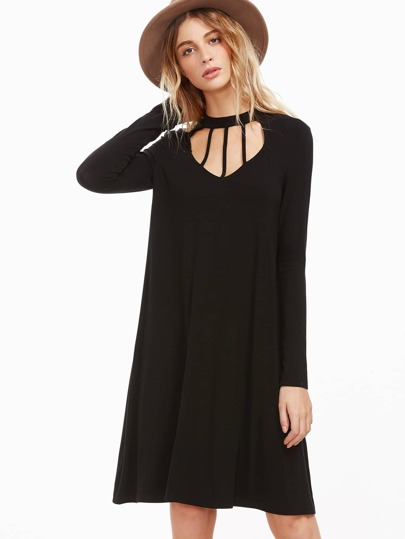 Black Cutout Strappy Neck Swing Dress