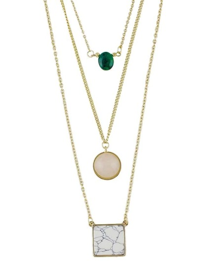 Gold Color Three Layers Imitation Turquoise Necklace