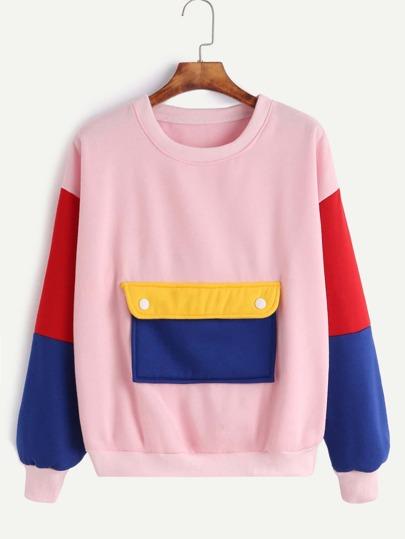 Pink Contrast Drop Shoulder Pocket Sweatshirt