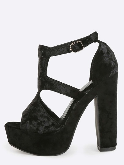Platform Velvet Cut Out Heels BLACK
