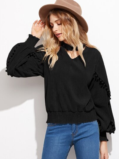 Black Lantern Sleeve Elastic Hem Pompom Detail Top