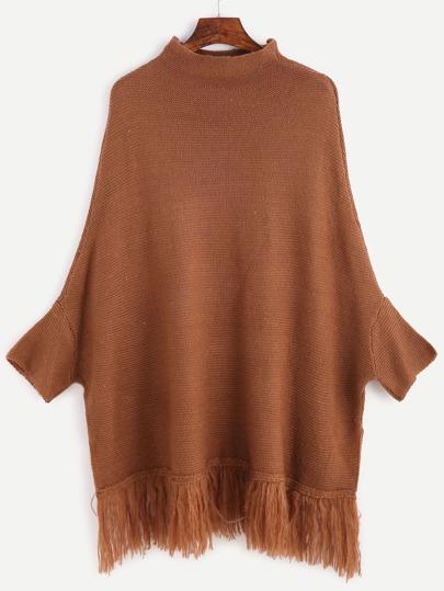 Khaki Mock Neck Fringe Hem Poncho Sweater