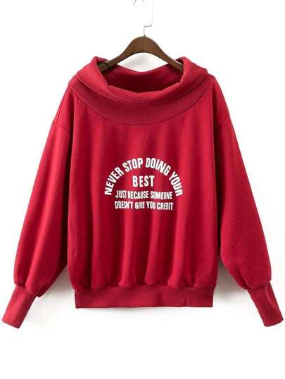 Red Letter Print Boat Neck Sweatshirt