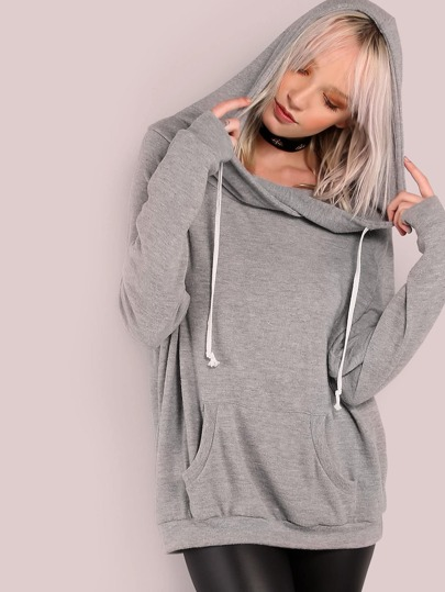 Lightweight Soft Knit Draw String Slouchy Hoodie HEATHER GREY