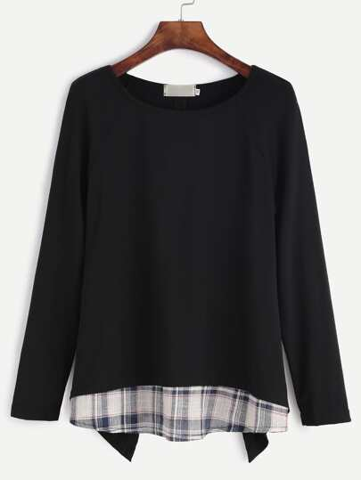 Black Raglan Sleeve Contrast Plaid Trim Asymmetric T-shirt