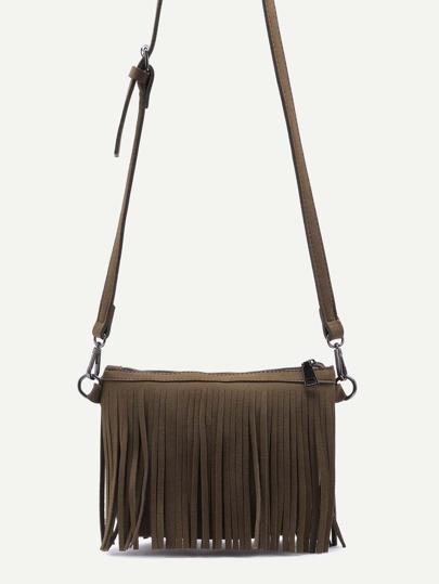 Green Nubuck Leather Fringe Zip Closure Crossbody Bag