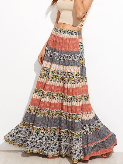 Floral Boho Maxi Swing Skirt