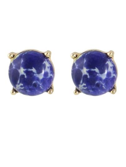 Imitation Turquoise Round Small Stud Earrings