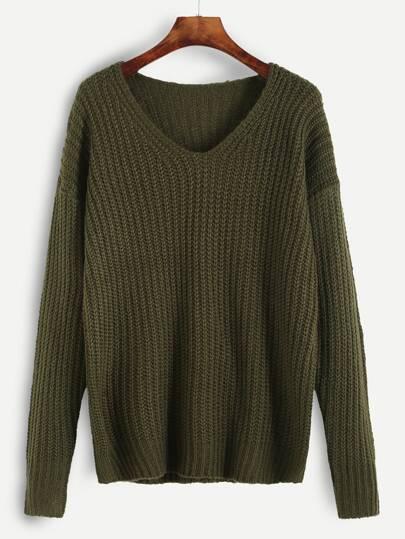 Jersey escote V con hombro caído - verde oliva