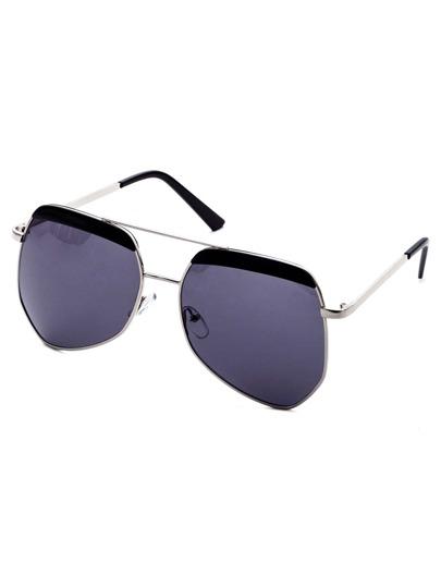 Metal Frame Double Bridge Black Lens Sunglasses