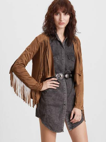 Camel Suede Waterfall Fringe Jacket