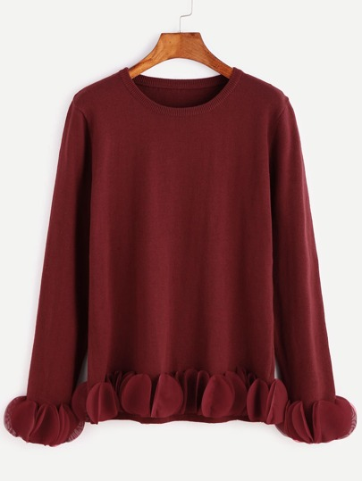 Burgundy Circle Applique Trim Sweater